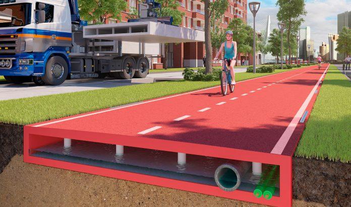 Render de carretera de plástico reciclado. Imagen de PlasticRoad